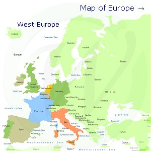Western Europe on the map of Europe
