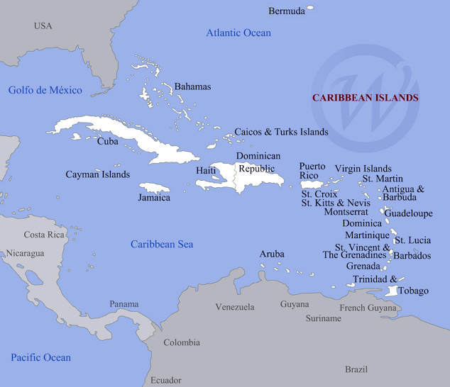 Caribbean Islands On The Map