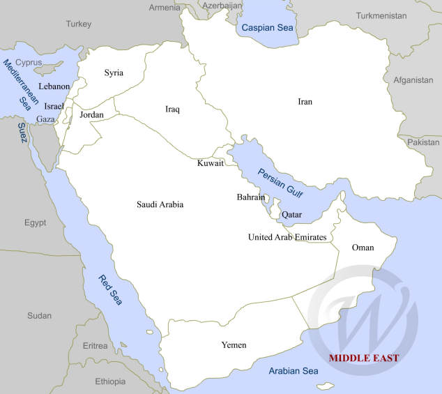 Middle East on the map
