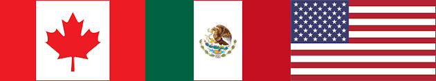 Flags of Canada, Mexico and the United States of America