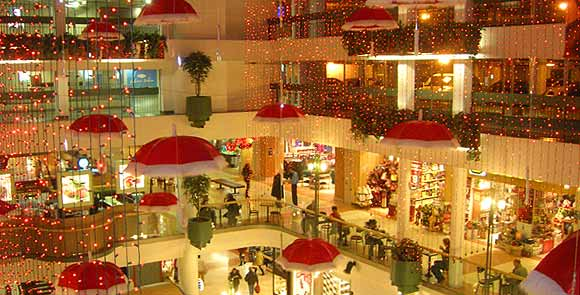 Shopping center decorated with lights and ornaments