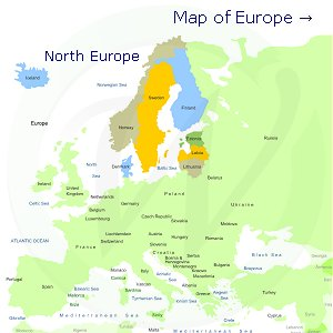 North Europe on the map of Europe