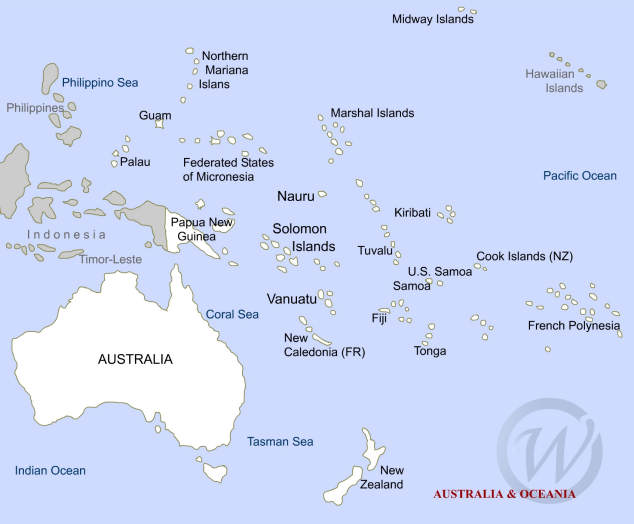 Australia and Oceania on the Map