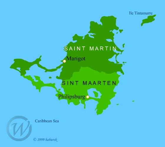 Map of Saint Martin - Map of Sint Maarten
