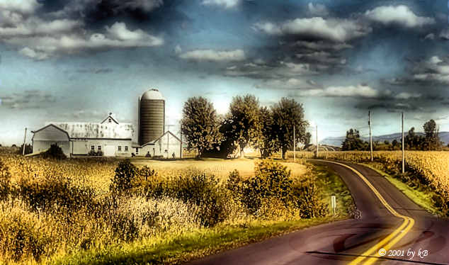 Waning road and a farm in Eastern Townships