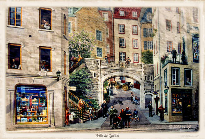 One of murals in Old Quebec city