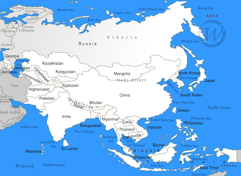 Map Of Asia Seas.Map Of Asia