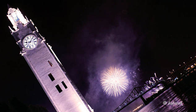 Montreal Clock Tower  and Fireworks