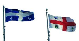 Province of Quebec flag & flag of Montreal