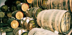 Rum barrels on a factory floor, Havana