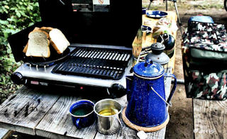 Preparing a breakfast at campground