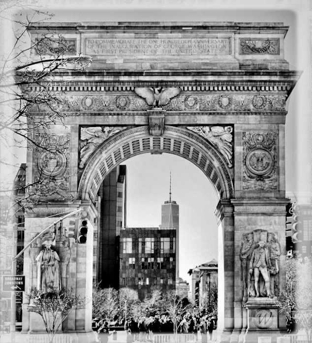 Washington Square Arch with One World Trade Center in the background